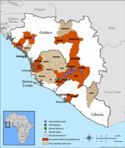 map of 2014 ebola outbreak in West Africa