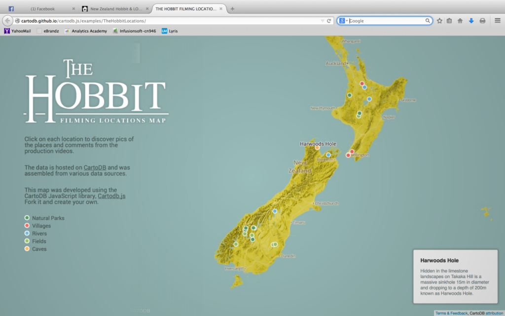New Zealand Hobbit map