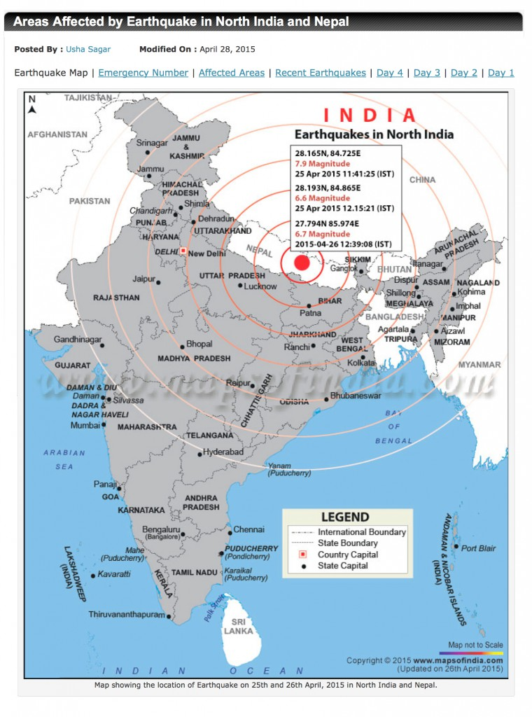 earthquake damage in Northern India map of quake and epicenter