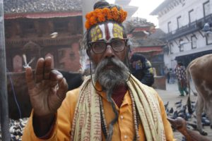 Devotee in Nepal/Northern India after earthquake damage