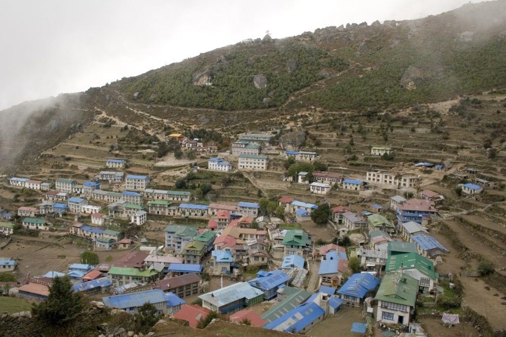 Namche Bazar, Nepal before the first (Gorkha) quake hit April 24, 2015.