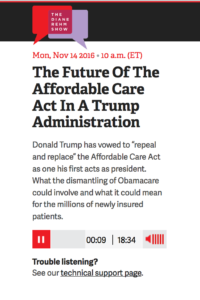 Repeal and Replace the Affordable Care Act - A discussion on The Diane Rehm Show