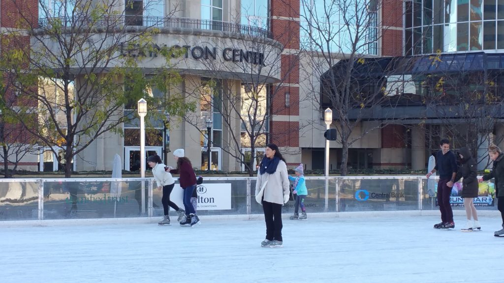 Skating downtown Lexington Triangle Park