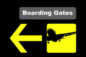 Airport Boarding Gate directional sign