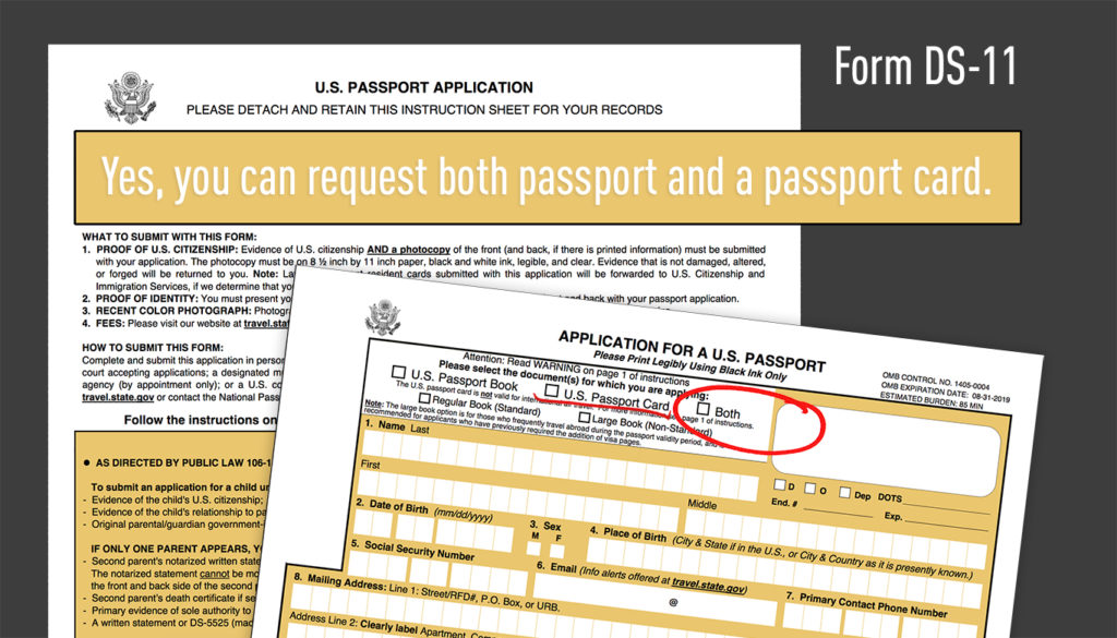 Passport card form application