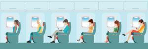 Jet lag illustration - profile of people sitting on airplane
