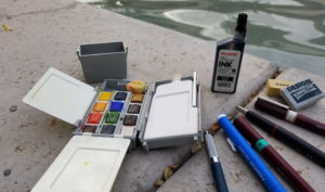 an example of a travel sketching kit