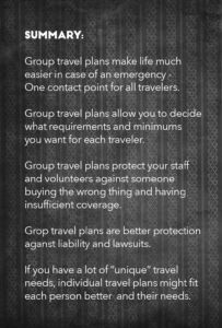 Summary of group travel insurance plans vs individual travel insurance plans