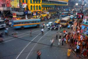 Busy street scene in India