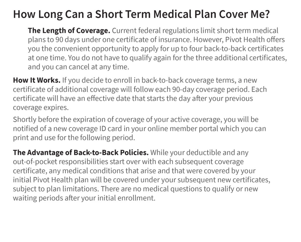 How long can someone be on a short-term health insurance plan in the USA?