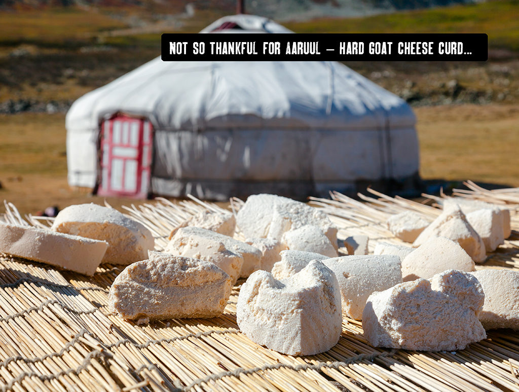 aaruul or hard goat cheese curds - Mongolia