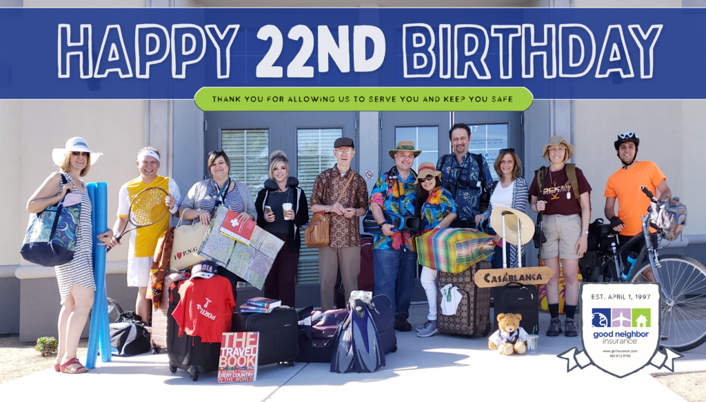 GNI staff picture celebrating our 22nd year in the travel insurance business and as an international health insurance broker