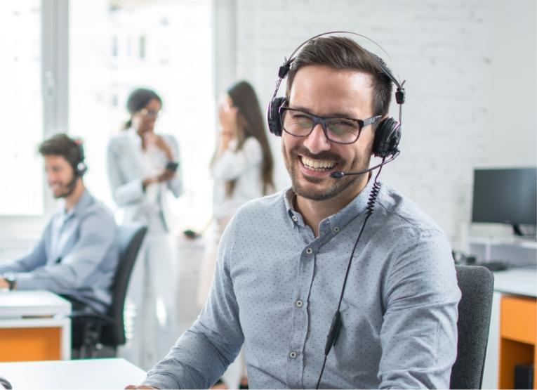male customer service rep smiling