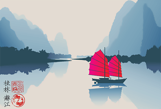 Mobile illustration of Chinese boat on Li River in China for Good Neighbor Insurance - Travel Insurance and international health insurance