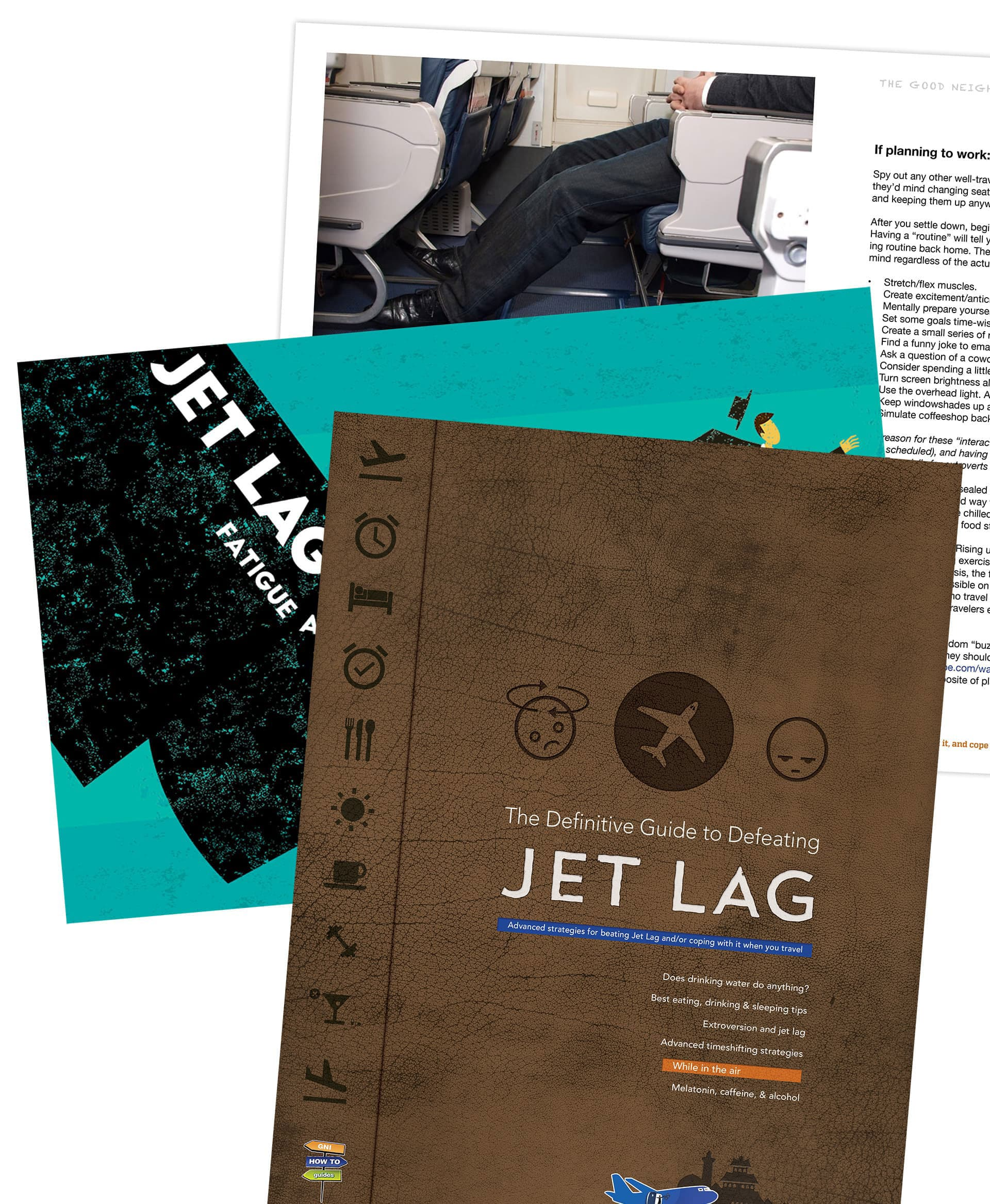 Pages from the Free Jet Lag Guide for Travelers and frequent flyers